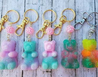 Resin gummy bear charmed keychain/bag accessory