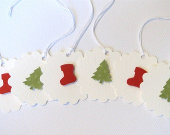 Small Christmas gift tags, Stocking Christmas Tags, Small Holiday Tags, Christmas favor tags, Small Christmas present tags