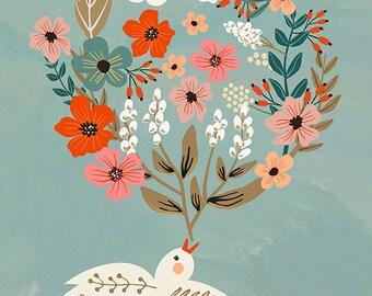 Bird speaking flowers