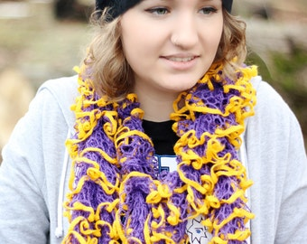 Huskies Ruffle Scarf : Hand Knit Ruffle Scarf - Gold and Purple