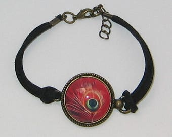 Bracelet 20mm glass cabochon jewel * Peacock feather *.