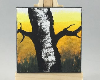 "Original Handmade Mini Canvas Art: Yellow and Black Painting of a Minnesota Birch tree in the Summer; 2.5"" Square Canvas with Small Easel"