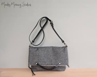 Charcoal Grey Tweed Foldover Bag, Business Tote with Custom Leather Strap in Dark Gray, Everyday Shoulder Bag, American Made, Handmade Purse