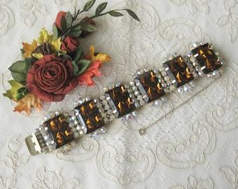 "Large Vintage ""Jay Kel"" Rhinestone Bracelet  - Circa 1950's - 60's - Plus Free Matching Earrings"