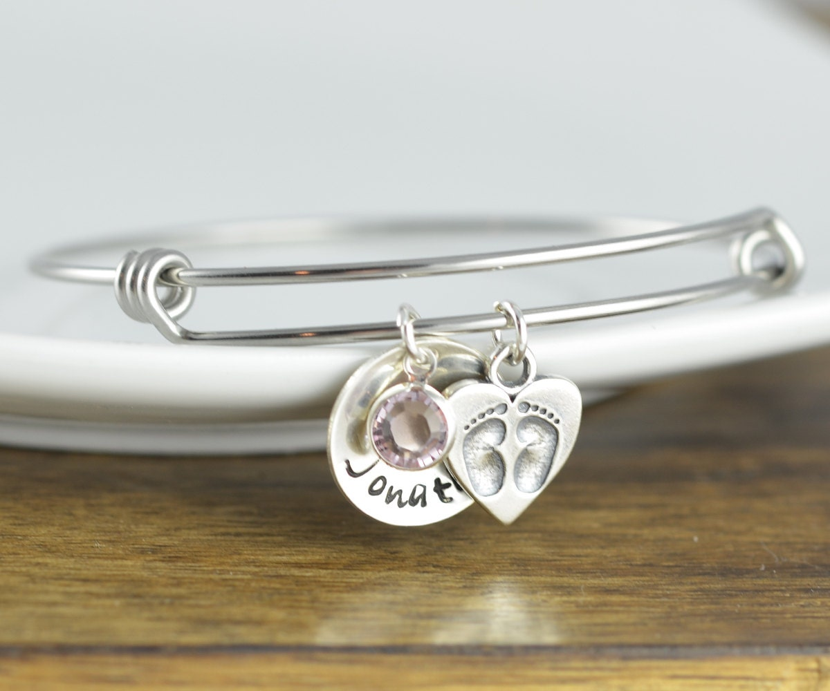 Kids name bracelet baby feet charm bangle baby feet print request a custom order and have something made just for you negle Gallery