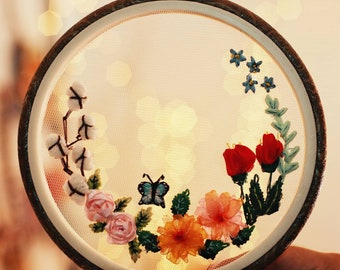 Transparent Spring Bloosom Embroidery Hoop Wall Art Decor ,Free Custom Words,mix media textile art, embroidery home decor