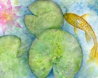 Koi fish art print, Koi Carp watercolor painting lotus flower lily pad pond art, gold fish illustration, feng shui home decor in blue green