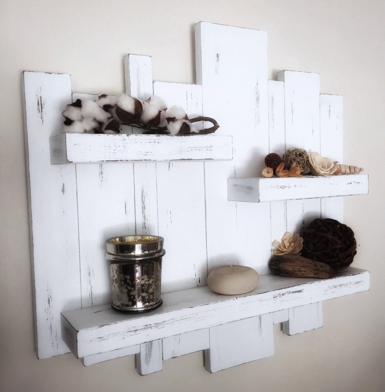 Rustic wall shelf reclaimed wood wall shelf
