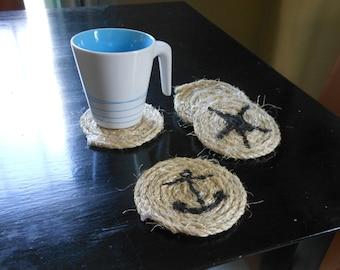 Nautical rope coasters - set of 4