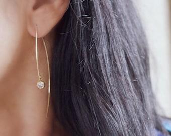 Gold Dangle Earrings, Thin Gold Earrings, CZ Earrings, Simple Earrings, Diamond Earrings, Elegant Earrings