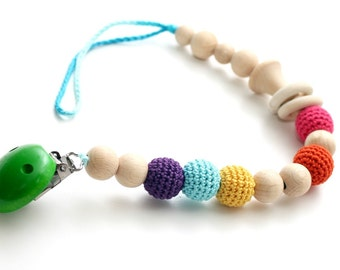 Baby dummy chain Pacifier clip, Crochet wooden rattle holder, stroller dummy chain, Rainbow Teething wooden baby toy