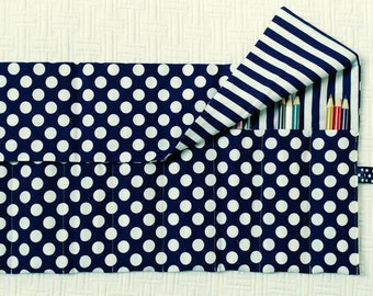 Pencil Roll Organizer Storage Rollup for Coloring, Navy and White Polka Dots and Stripes, Colored Pencil Roll, Coloring, Roll FREE SHIP