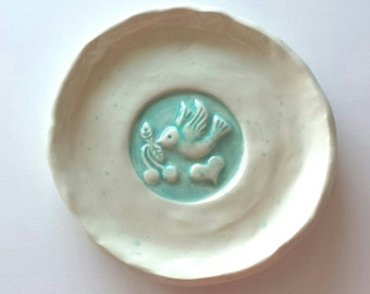 Wedding Trinket Dish with Bird  Wedding Tea Bag Holder Ring Dish Soap Dish Home Decor