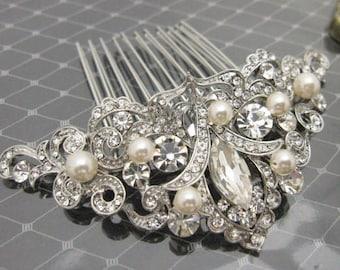 Pearl comb Wedding Hair Comb,Vintage inspired Bridal Hair Comb,Rhinestone Pearl Hair Piece,Crystal Silver Bridal Hair Clip,Wedding Headpiece
