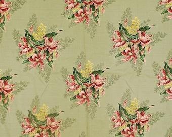 "Vintage 1940's/50's Barkcloth Fabric / 42"" x 84"" / Floral Print / Retro Collectable Rare"