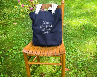 Bless the Lord oh my soul canvas school bag navy, shoulder canvas bag, tote everyday bag, farmers market bag, big bag tote, Christmas gift