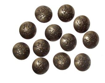 Set of 12 vintage metal buttons