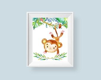 Jungle Nursery Print, Swinging Monkey Safari Printable Wall Art, Baby Room Decor Leaves Flowers 8x10 Instant Digital Download