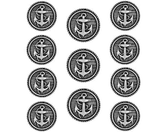 11 pc Classic Anchor Metal Blazer Button Set Antique Silver Color