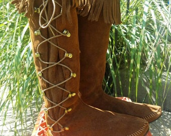 Vintage Minnetonka Fringe Suede Tall Lace Up Boots
