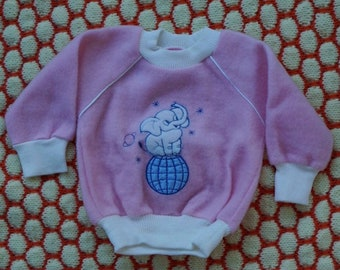 Fluffy pink Elephant sweatshirt - baby girl sweater - Made in France - 12 months