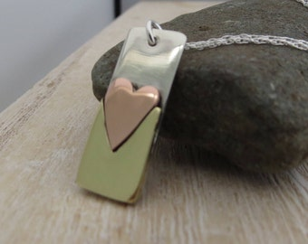 Heart necklace, silver heart necklace, mixed metal jewellery, mixed metal jewelry, heart pendant, heart jewellery, silver heart pendant