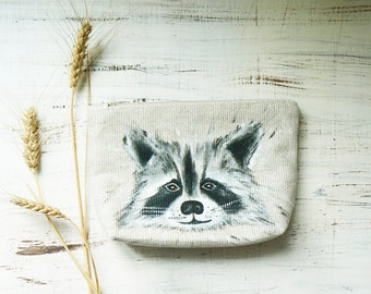 Raccoon Cosmetic Bags Gift for mom Girlfriend Gift Cute Makeup Bags Hand Painted Travel Makeup Bag Zipper Pouch Gift for her Pencil Case