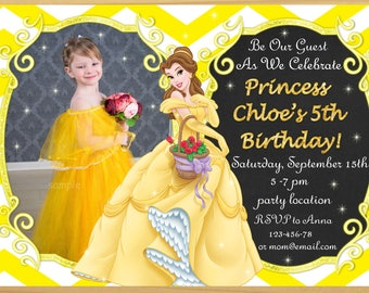 Beauty and the Beast Invitation, Beauty and the Beast birthday Invitation, Princess Belle birthday invitation, Belle invitation - Digital