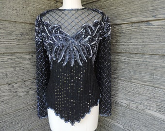 black + silver sequin beaded blouse 1980s gatsby sheer bodice floral beaded evening top medium