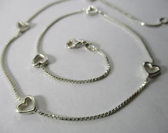 "Vintage Sterling Silver Heart Necklace Stamped Italy 925 Box Link Lobster Claw Clasp Six Hearts 15"" Long"