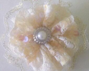 Beautiful cream Shabby chic flower hair clip