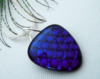 Purple fused glass pendant - silver setting - dichoric glass jewelry - fused glass jewelry - purple necklace - OOAK
