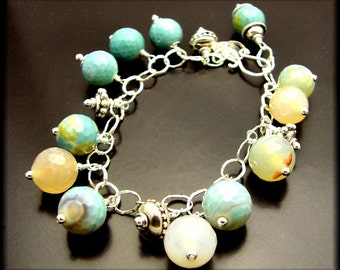 SWEET TREATS ~ Amazonite, Blue Fire Agates, Sterling Silver Bracelet