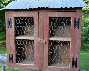 Chicken Coop Wall Storage Display Cabinet Made of Barn wood, Old Tin and Chicken Wire