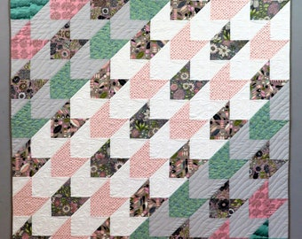 """Modern Throw Quilt in Gray, White, Taupe, Pink & Green """"Partial Shade"""""""