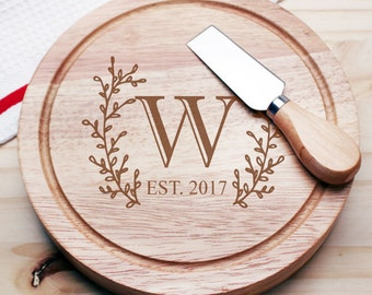 Side Wreath Initial Personalized Gourmet 5pc. Cheese Board Set - Wedding Gifts -Holiday Gifts (JM5846283-CS913)
