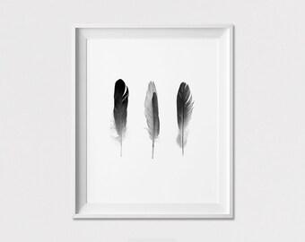 Feathers art print, Scandinavian art print, Wall Art, Minimalist poster, Wall Decor, Black & White, Home decor, ArtFilesVicky