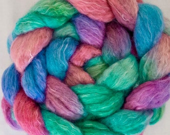 Hand dyed BFL Kid mohair wool top, combed top, spindling, Hand dyed spinning wool, felting materials, Handspinning, spinning fibre, Nuno
