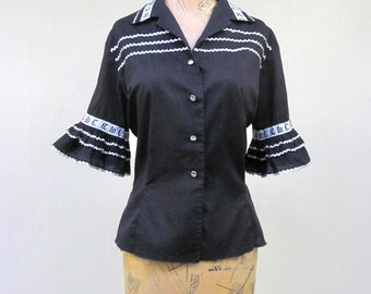 Vintage 1950s Blouse / 50s Black Cotton Silver Trim Patio Top / Small