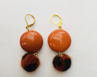 Earrings dangle ceramic orange