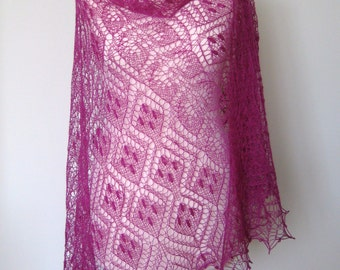 Handmade knitted lace merino wool shawl,  bright mauve colour with nupps (bubles)