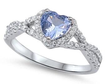 Women Sterling Silver Aqua Blue Heart CZ Solitaire Engagement Ring 8MM(SNRC105138-AQ)