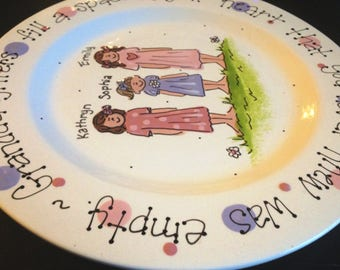 "Handpainted Platter for Grandparents - Granddaughters are a blessing. Mother's Day gift 12"" Platter"