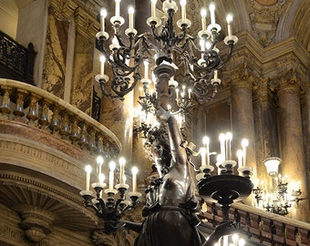 Paris Photography, Opera House Chandeliers, Paris Opera Statues, Sparkling Chandeliers, Paris Opera Ladie Statues, Paris Chandelier Prints