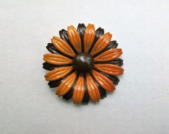 Vintage Brown Black Enamel Black Eyed Susan Brooch Pin
