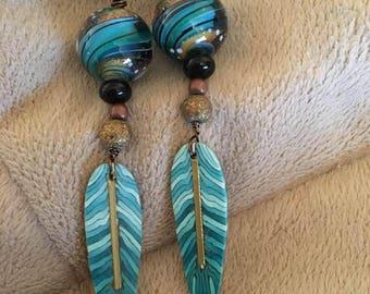 Lampwork bead earrings...Magma Beads, Boho and colorful