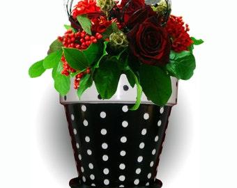 Black and White Polka Dot Flower Pot Hand Painted Original