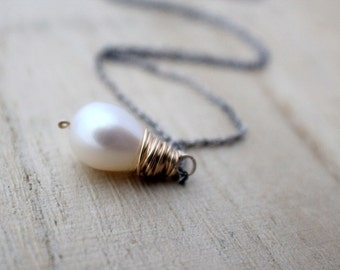 Pearl Teardrop Necklace, Genuine Fresh Water Pearl In Gold , Antiqued Sterling Silver , Pearl Pendant Necklace