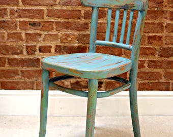 Beautifully Battered Hand Painted & Distressed Multi Tonal Vintage Chair in Teal