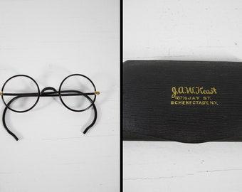 Vintage 1920s Men's Eyeglasses Round Black Glasses Cable Curled Frames
